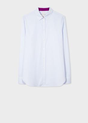 Women's Slim-Fit Light Blue Pinstripe Cotton Shirt