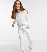 Asos DESIGN Petite tracksuit hoodie /slim jogger with tie in organic cotton
