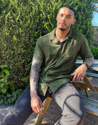 Jack and Jones Originals short sleeve revere collar acid wash shirt in khaki