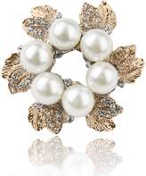 Generic Wedding Women Jewelry Faux Pearl Pin Brooch Leaves Design Champagne