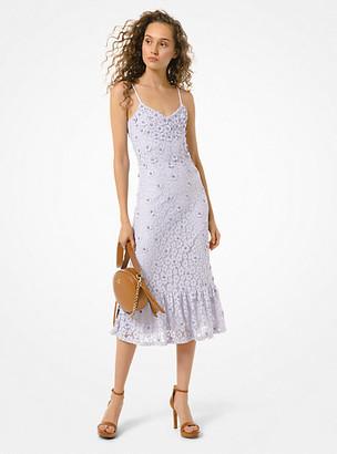 Michael Kors Embellished Corded Lace Ruffle-Hem Dress