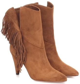 Aquazzura Wild Fringe 85 suede ankle boots
