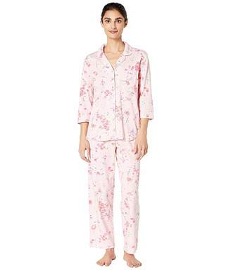 Karen Neuburger Petite Sonata 3/4 Sleeve Girlfriend PJ (Floral Coral) Women's Pajama Sets