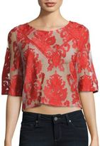 MinkPink Embroidered Elbow-Sleeve Top