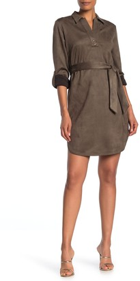 Spense Collared Roll Sleeve Faux Suede Dress