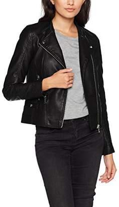 Vero Moda Women's Vmkerri Short Pu Jacket Noos Black Detail:Silver Mink Lining, (Size: )