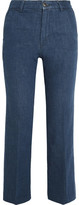 MiH Jeans Coler Cropped Embroidered High-rise Flared Jeans - Dark denim