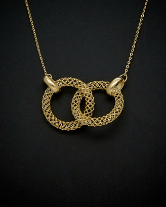 Italian Gold 14K Mesh Double Circle Necklace