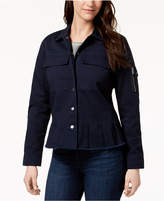 Style&Co. Style & Co Cotton Peplum Utility Jacket, Created for Macy's