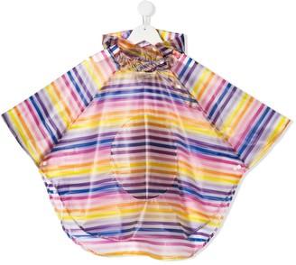 Striped Hooded Rain Poncho