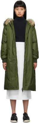 Yves Salomon Army Green Down and Fur Hooded Coat