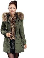 Win8Fong Women Thicken Fleece Warm Faux Fur Zip Hood Winter Coat Parka Overcoat Jacket