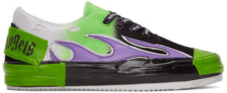 Palm Angels Green and Black Flame Sneakers