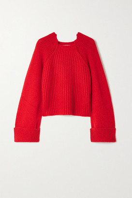 Stella McCartney Cropped Ribbed Camel Hair Sweater - Red