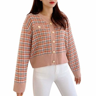 Starstreetcom Womens Long Sleeve V Neck Elegant Plaid Knit Cardigans Casual Style Button Down Warm Sweaters Jumper Cardigan (One Size