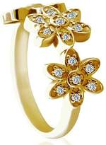 PPLuxury 0.20CT Diamond 14K Yellow Gold Triple Flower Designer Ring 2.5mm Wide