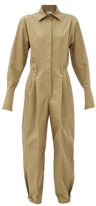 Givenchy Fluted-cuff Knife-pleated Cotton-poplin Jumpsuit - Beige
