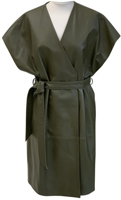 Topshop Tophop Green Leather Dress for Women