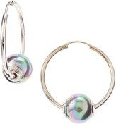 Majorica Gray Round Hoop Earrings