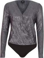 River Island Womens Silver metallic plisse wrap bodysuit