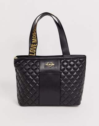 Love Moschino quilted faux leather logo strap tote bag-Black