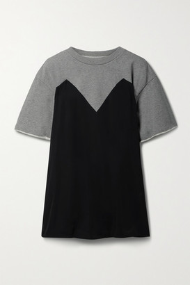 MM6 MAISON MARGIELA Trompe-l'il Belted Jersey And Melange French Cotton-terry Top - Gray