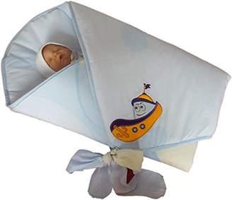 BlueberryShop Premium 100 Percent Cotton Embroidered Swaddle Wrap/Blanket/Duvet for Newborn Baby, Blue Boat