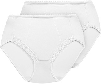 Exquisite Form 2-Pack Control Lace Shaping Panties #51070261a White