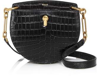 Bally Cecyle Small Croc-Embossed Leather Crossbody