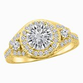 Houston Diamond District 1.52 Carat t.w. 14K Yellow Gold Round Three Stone Vintage Bridal Set w Wedding Band & Diamond Engagement Ring SI2-I1