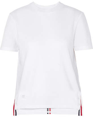 Thom Browne Appliqued Cotton-pique T-shirt - White