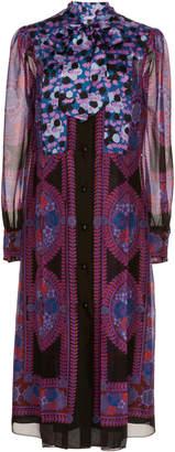 Anna Sui Bow-Embellished Rose Medallion Border Dress