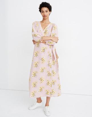 Madewell Petite Linen-Blend Ruffle-Cuff Wrap Dress in Dutch Dandelions