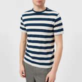 Officine Generale Men's Overdye Stripe TShirt - Aegean Blue