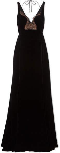 Antonio Berardi Lace-paneled Velvet Gown - Black