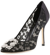 Manolo Blahnik Hangisi Satin Lace 105mm Pump, Black