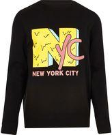 River Island Mens Black 'NYC' print sweatshirt