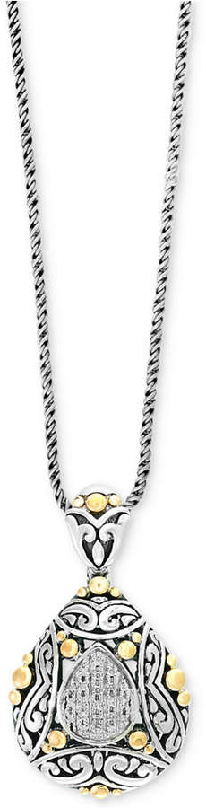 Effy Balissima by Diamond Two-Tone Pendant Necklace (1/10 ct. t.w.) in Sterling Silver and 18k Gold