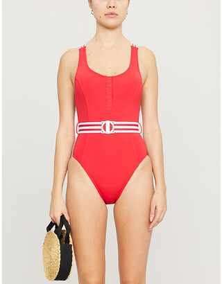 Seafolly Stripe-trimmed scoop-neck swimsuit