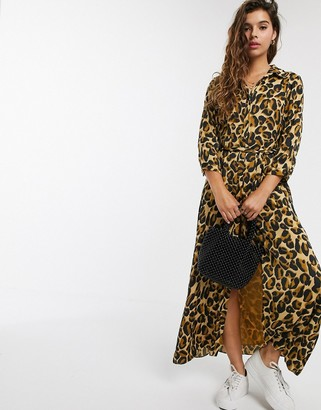 Maison Scotch leopard print belted maxi dress