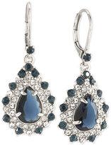 Carolee Silver-Tone Blue and Clear Crystal Teardrop Cluster Drop Earrings