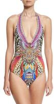 Camilla Halter-Neck Embellished One-Piece Swimsuit, Kingdom Call