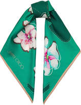 Jimmy Choo OPIE H66023720 Emerald and Ballet Pink Printed Twill Foulard