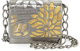 Nancy Gonzalez Gio Laser-Cut Flower Crocodile Crossbody Bag, Anthracite/Multi