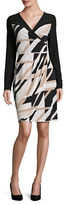 Laundry by Shelli Segal Matte Jersey Long Sleeve Mock Wrap Dress