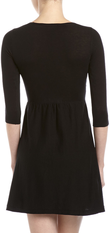 French Connection Knit Fit-and-Flare Dress, Black