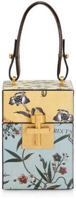 Oscar de la Renta Alibi Floral Leather Top Handle Box Bag
