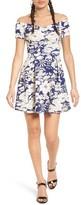 Lush Women's Print Neoprene Off The Shoulder Dress