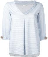 Xacus Shelia flower sleeve blouse - women - Cotton/Spandex/Elastane - 42