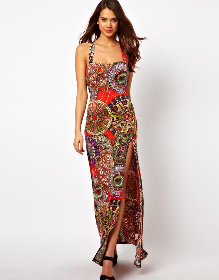 AX Paris Printed Maxi Dress With Thigh Split